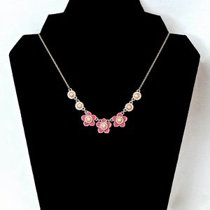 KATE SPADE~enamel & crystal~FLOWER COLLAR NECKLACE